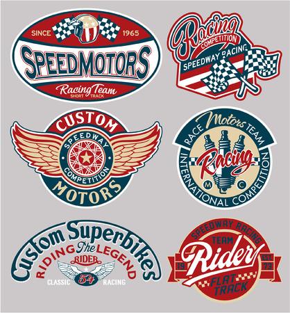 Vector motor patches collectie, kunstwerk voor jongens dragen afdrukken of borduren
