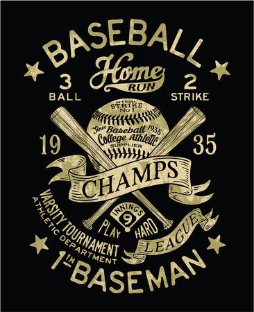 Vintage Baseball vector artwork for sports wear