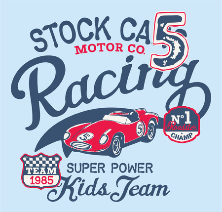 stock car: Cute stock car racing team, vector print for children wear with embroidery patches