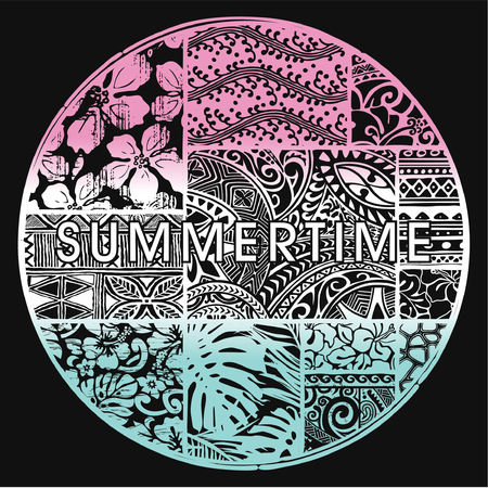 Summertime badge with Hawaiian motifs, vector artwork for woman t shirt