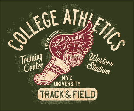 College track and field athlete, grunge vector print for sports wear Vektorové ilustrace