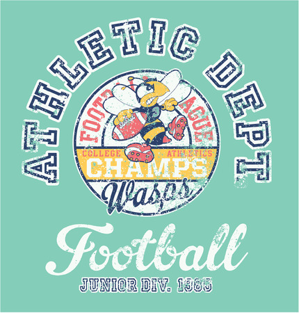 babysitting: Wasps team american football athletic department - vector artwork for baby and kid wear grunge effect in separate layer