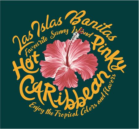 Hot pinky Caribbean hibiscus, vector artwork for girl tshirt.
