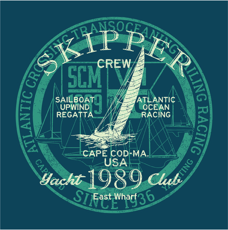 Atlantische Oceaan zeil regatta racing, grunge vector print voor jongen shirt