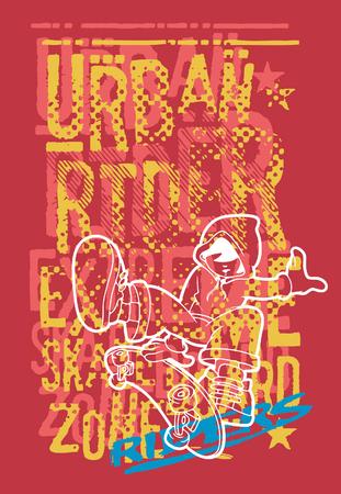 Urban rider boy with skateboard, vector print for children wear