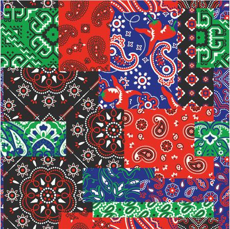 Bandanna kerchief fabric patchwork vector seamless patterns Иллюстрация