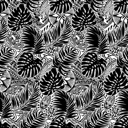 ポリネシアン スタイルの葉と部族の背景、黒と白のベクトルのシームレス パターン