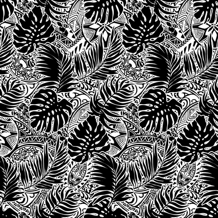 Polynesian style with leaves and tribal background, vector seamless pattern in black and white