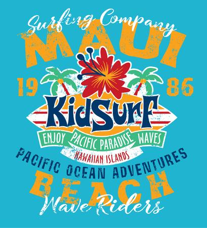 pacific ocean: Kid surfing team Hawaii pacific ocean, vector print for kids wear grunge effect in separate layer