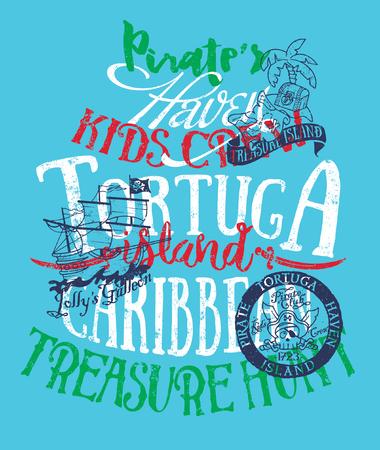 wildcard: Pirates caribbean treasure island, vector artwork for kids wear in custom colors