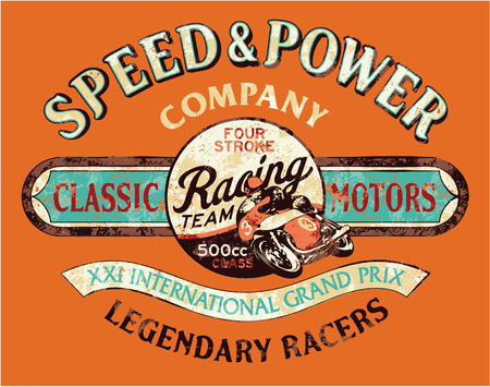 racing: Speed ??and power vintage motorcycle racing team, vector print for boy t shirt