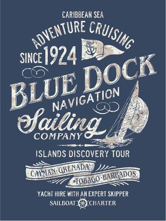 Navegación del descubrimiento de la aventura del mar del Caribe, ilustraciones del vector para la camiseta del efecto del grunge en capa separada