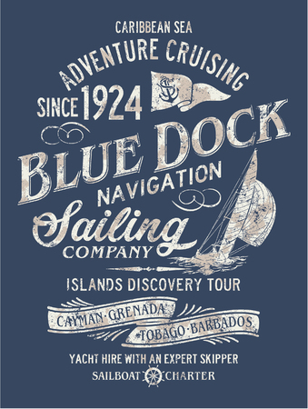 Navigazione navigazione avventura del mare caraibico, illustrazione vettoriale per la maglietta effetto grunge in strato separato