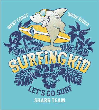 Shark surfing kid team, vector print voor kinderen dragen grunge effect in afzonderlijke laag