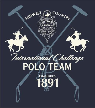 Horseback polo sport international challenge, vector print for boy sport wear