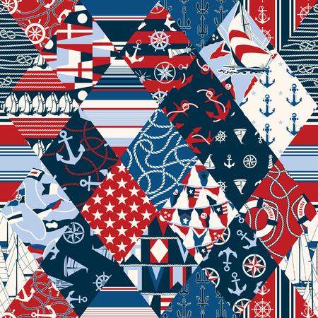 Nautical elements patchwork, vector seamless wallpaper pattern Illustration