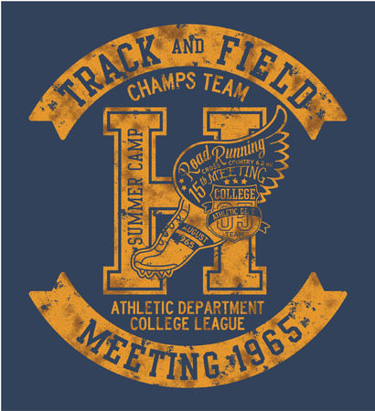 College Athletic department cross country running, vector print for sports wear grunge effect in separate layer Illustration