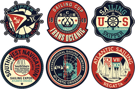 Yachting sailing vector badge collection, artwork for textile prints or embroideries.