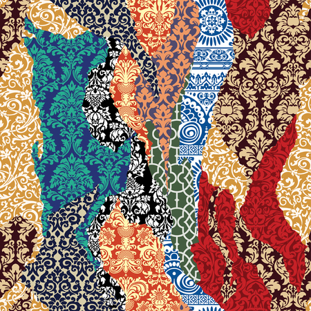 Damask ripped patchwork, vector arabesque wallpaper seamless pattern
