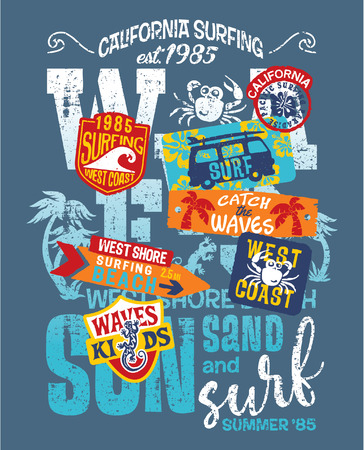 children crab: Kids surfing team West Coast California, grunge print for children wear with embroidery patches
