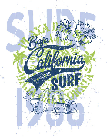 Cute surfer pick up with text Baja California grunge print for kids wear.