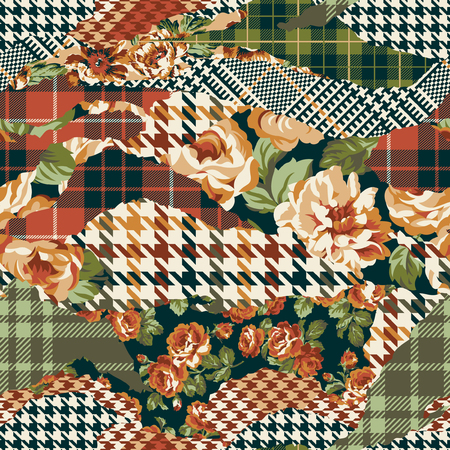 Houndstooth tartan and roses fabric patchwork