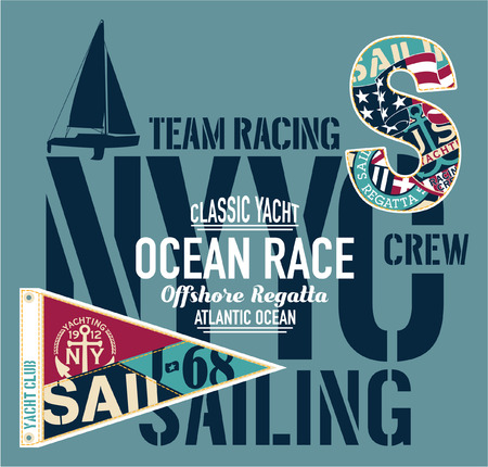 Yacht club racing sailing offshore regatta - vector artwork for boy print and embroidery