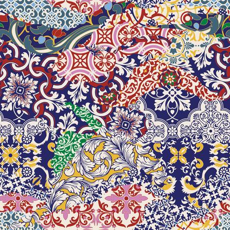 Azulejos tiled patchwork wallpaper, vector seamless pattern Illustration