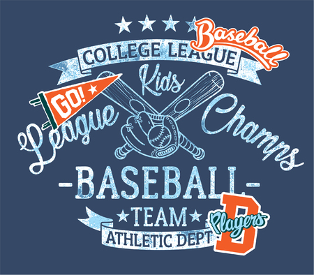 Baseball kids team league champs, vector print for children wear with embroidery patches grunge effect in separate layer Illustration
