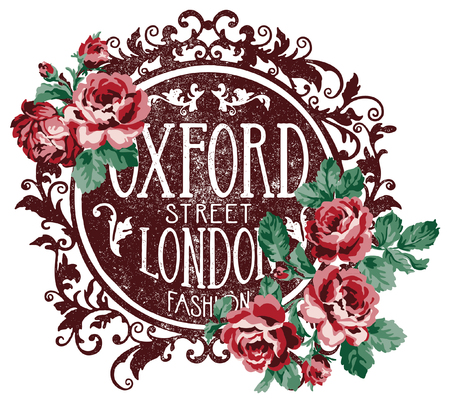 Oxford street London fashion, vintage grunge vector print for woman wear. Illustration