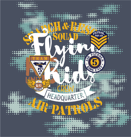 Air patrol with flying kids crew, vector print for children wear with embroidery patches and camouflage background Vettoriali