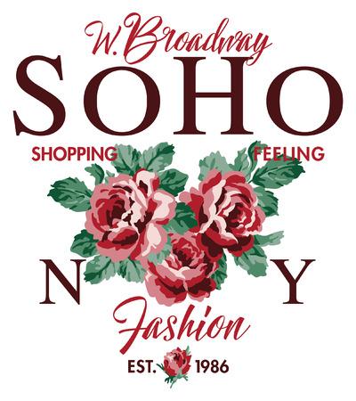 Soho New York shopping feeling fashion roses, vintage vector print for woman girl shirt