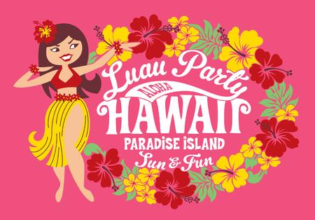 Luau party Hawaii paradise island, hula girl vector artwork for children girl t shirt Illustration
