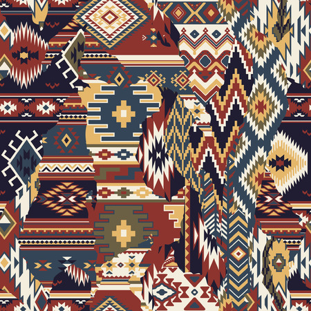 Native American fabric patchwork wallpaper, vector seamless pattern background.