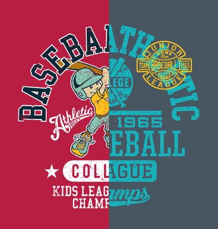 Campeón de la liga de béisbol para niños universitarios, ilustraciones vectoriales para niños efecto de impresión grunge en capas separadas