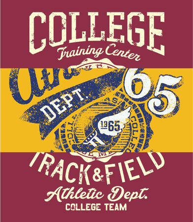College track and field athletic department team, grunge vector patchwork print for kids boy sport wear and t-shirt.