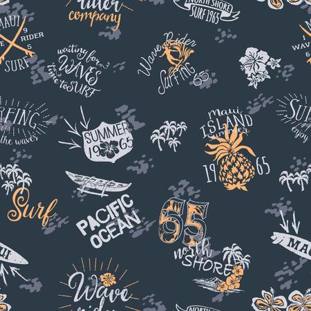 Vintage surf Hawaii wave rider, grunge vector artwork seamless pattern for fabric Illustration