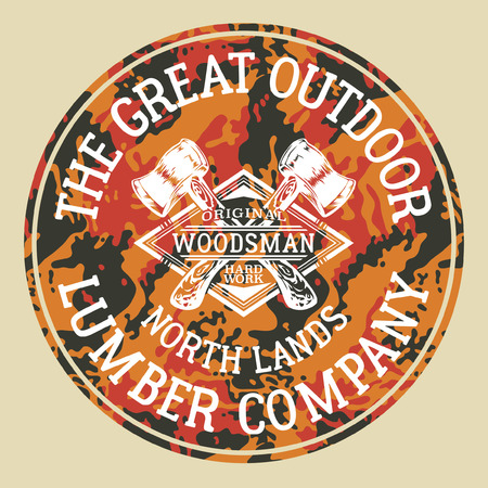 The great outdoor woodman lumber company, vector artworks for boy. Vettoriali