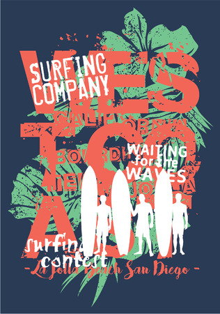 California west coast surfing company - wave rider surfers grunge vector print for boy t shirt