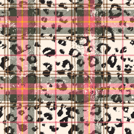 Scottish tartan with leopard skin spots, grunge vector seamless pattern fabric wallpaper
