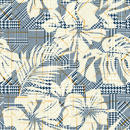 Houndstooth plaid with abstract hibiscus flowers, vector seamless pattern wallpaper for summer wear fabric
