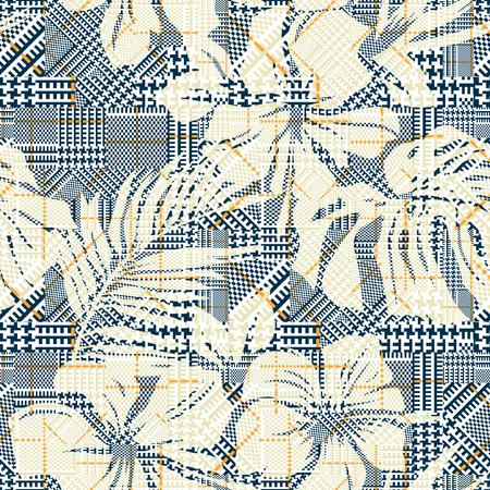 plaid à carreaux avec abstrait emballage d & # 39 ; hibiscus vecteur seamless papier peint pour le tissu d & # 39 ; usure