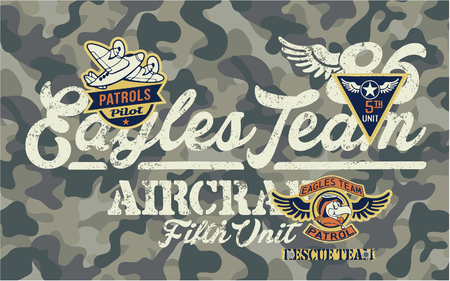 Cute Eagles kids team aviation rescue unit, vector artwork for children wear with applique embroidery patches and camouflage background