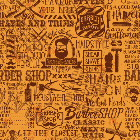 Barber shop elements and icons patchwork background, vector grunge seamless vintage wallpaper pattern Çizim