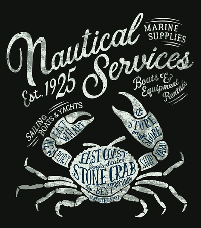 Vintage nautical service marine supplies, vector grunge print for boy t shirt