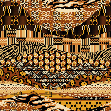 African style fabric patchwork background, abstract vector seamless pattern tribal wallpaper in custom colors