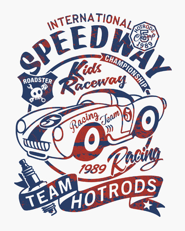 Vintage speedway kids roadster racing team, vector print with fabric applique for children grunge effect in separate layers Illusztráció