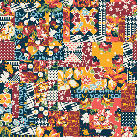 Abstract floral polka and plaid patchwork wallpaper, vector seamless pattern for background