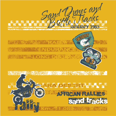 Desert motorcycle endurance rally racing competition, vector artwork for children wear