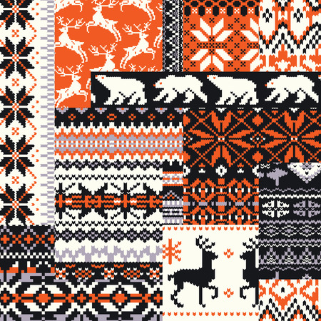 Winter Nordic style knitted jacquard fabric background, Vector abstract jacquard seamless pattern wallpaper Vettoriali